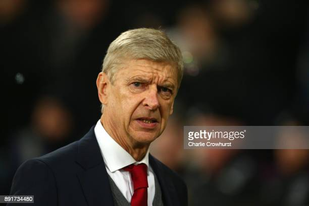 Arsene Wenger Manager of Arsenal looks on prior to the Premier League match between West Ham United and Arsenal at London Stadium on December 13 2017...