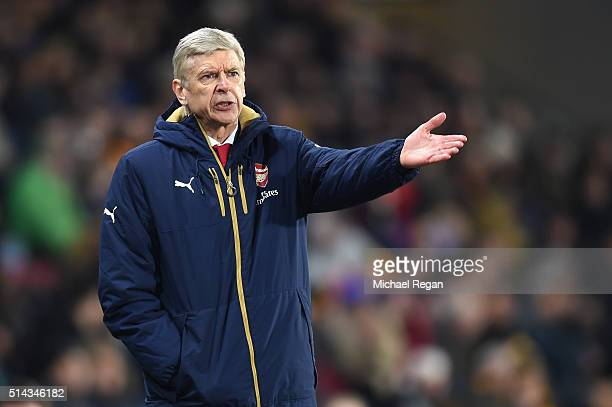 Arsene Wenger Manager of Arsenal reacts during the Emirates FA Cup Fifth Round Replay match between Hull City and Arsenal at KC Stadium on March 8...