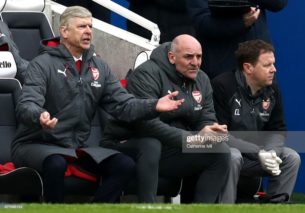 Arsene Wenger, Manager of Arsenal reacts during the Premier League match between Brighton and Hove Albion and Arsenal at Amex Stadium on March 4, 2018 in Brighton, England.