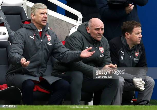 Arsene Wenger, Manager of Arsenal reacts during the Premier League match between Brighton and Hove Albion and Arsenal at Amex Stadium on March 4,...