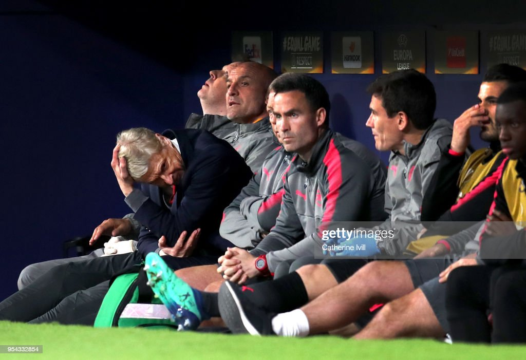 Arsene Wenger, Manager of Arsenal reacts during the UEFA Europa League Semi Final second leg match between Atletico Madrid and Arsenal FC at Estadio Wanda Metropolitano on May 3, 2018 in Madrid, Spain.