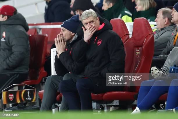 Arsene Wenger Manager of Arsenal reacts during UEFA Europa League Round of 32 match between Arsenal and Ostersunds FK at the Emirates Stadium on...