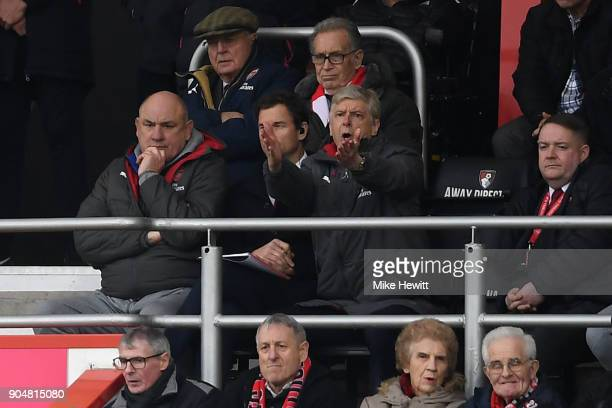 Arsene Wenger Manager of Arsenal reacts from the stands during the Premier League match between AFC Bournemouth and Arsenal at Vitality Stadium on...