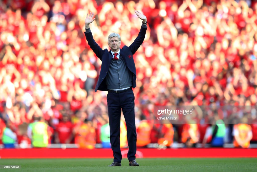 Arsene Wenger, Manager of Arsenal shows appreciation to the fans after the Premier League match between Arsenal and Burnley at Emirates Stadium on May 6, 2018 in London, England.