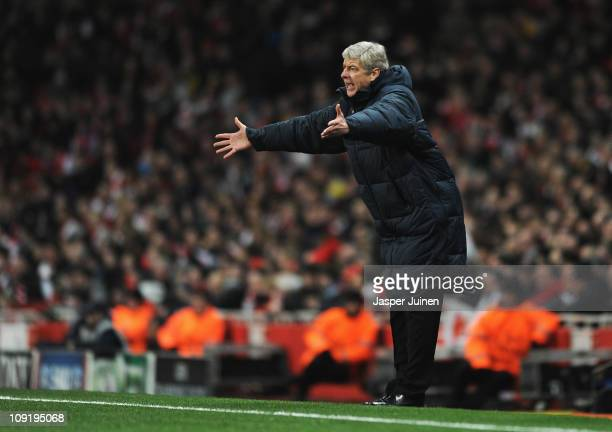 Arsene Wenger, Manager of Arsenal shows his frustration during the UEFA Champions League round of 16 first leg match between Arsenal and Barcelona at...