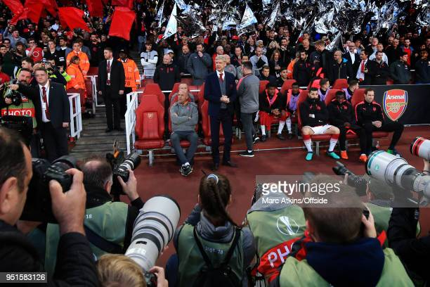 Arsene Wenger manager of Arsenal' surrounded by photographers during the UEFA Europa League Semi Final 1st Leg match between Arsenal FC and Atletico...
