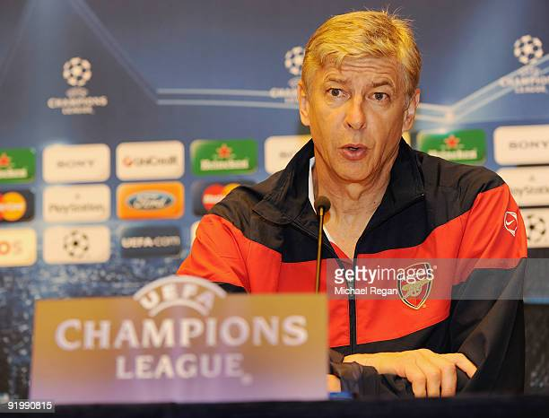 Arsene Wenger manager of Arsenal talks to the media during a press conference at the Sheraton Amsterdam Airport Hotel on October 19 2009 in Amsterdam...