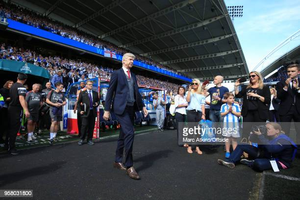 Arsene Wenger manager of Arsenal walks out at John Smith's stadium before his final game in charge during the Premier League match between...