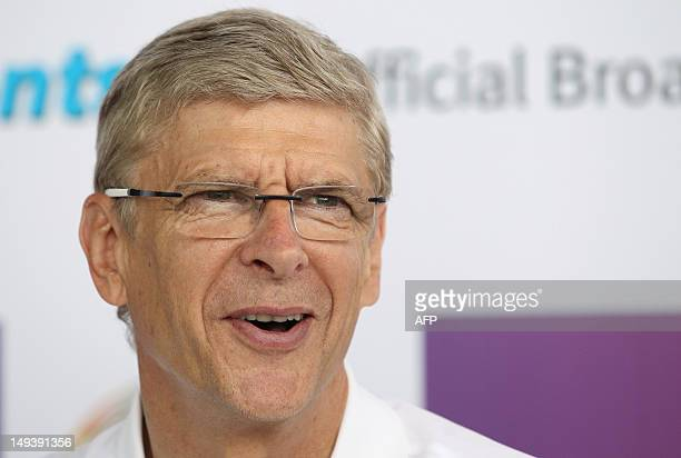 Arsene Wenger manager of English premier league football team Arsenal smiles during a press conference in Hong Kong on July 28 2012 Arsenal will play...