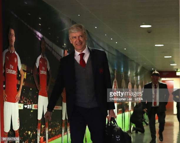Arsene Wenger of Arsenal arrives during the UEFA Europa League Semi Final leg one match between Arsenal FC and Atletico Madrid at Emirates Stadium on...