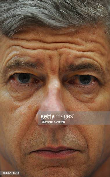 Arsene Wenger of Arsenal faces the Media during a Press conference ahead of the UEFA Champions League Group H match against Shakhtar Donetsk at the...