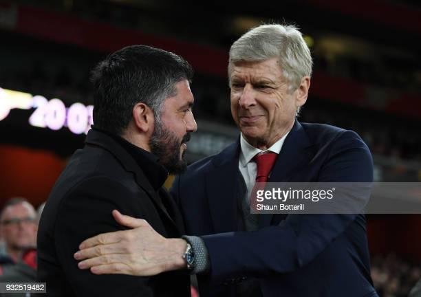 Arsene Wenger of Arsenal greets Gennaro Gattuso fo AC Milan prior to the UEFA Europa League Round of 16 Second Leg match between Arsenal and AC Milan...