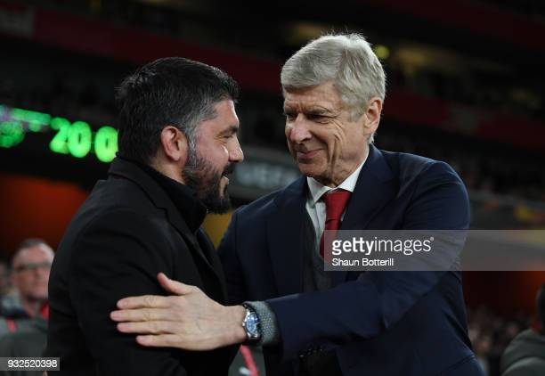 Arsene Wenger of Arsenal greets Gennaro Gattuso fo AC Milan prior to the UEFA Europa League Round of 16 Second Leg match between Arsenal and AC Milan...