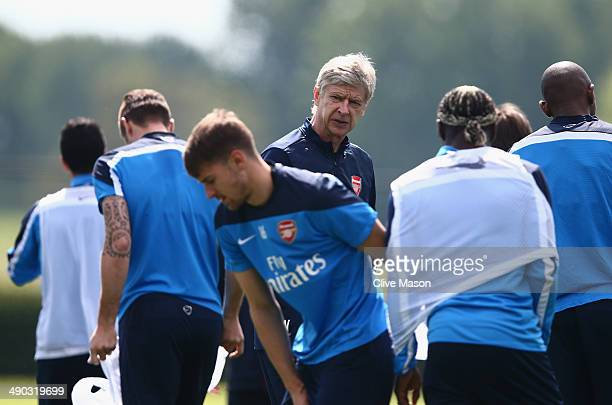 Arsene Wenger of Arsenal looks on during a training session ahead of the FA Cup Final match between Arsenal and Hull City at London Colney on May 14...