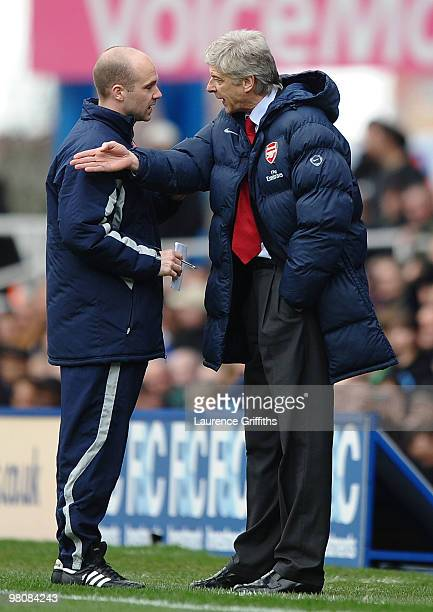 Arsene Wenger of Arsenal makes his feelings known to the fourth official during the Barclays Premier League match between Birmingham City and Arsenal...