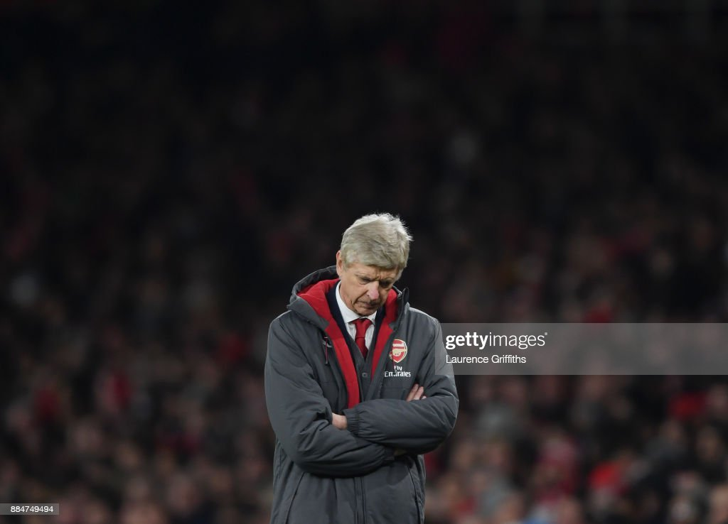 Arsene Wenger of Arsenal shows his disappointment during the Premier League match between Arsenal and Manchester United at Emirates Stadium on December 2, 2017 in London, England.
