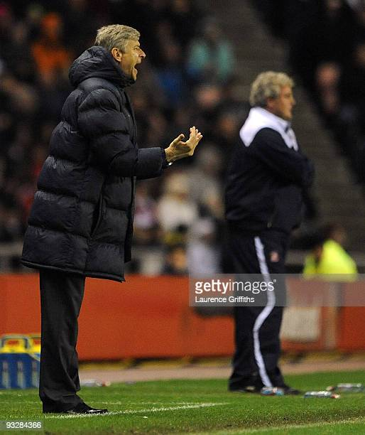 Arsene Wenger of Arsenal shows his dissapointment after losing 10 during the Barclays Premier League match between Suderland and Arsenal at The...