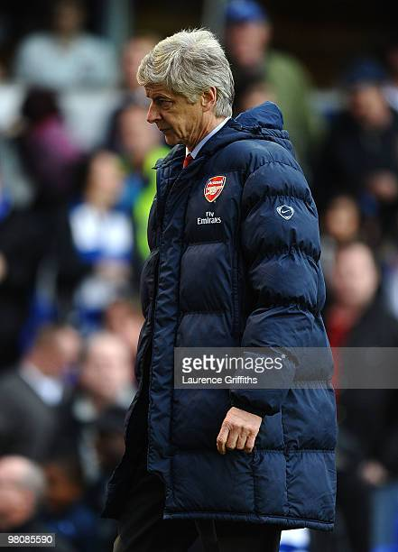 Arsene Wenger of Arsenal shows his dissapointment during the Barclays Premier League match between Birmingham City and Arsenal at St Andrews Stadium...