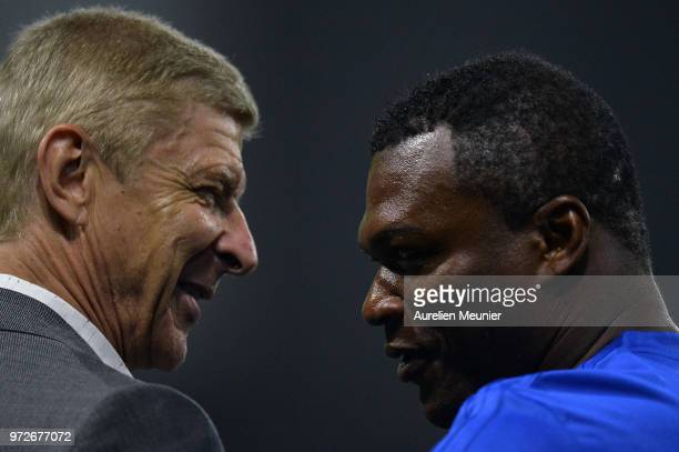 Arsene Wenger of FIFA 98 and Marcel Desailly of France 98 speak during the players presentation before the friendly match between France 98 and FIFA...