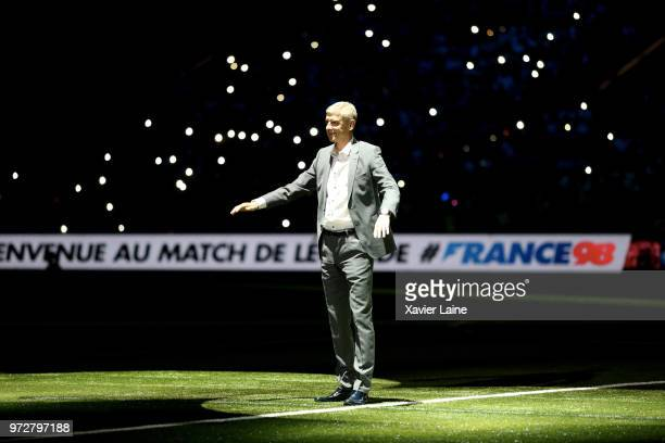 Arsene Wenger of FIFA 98 react before the Friendly match between France 98 and FIFA 98 at U Arena on June 12 2018 in Nanterre near Paris France