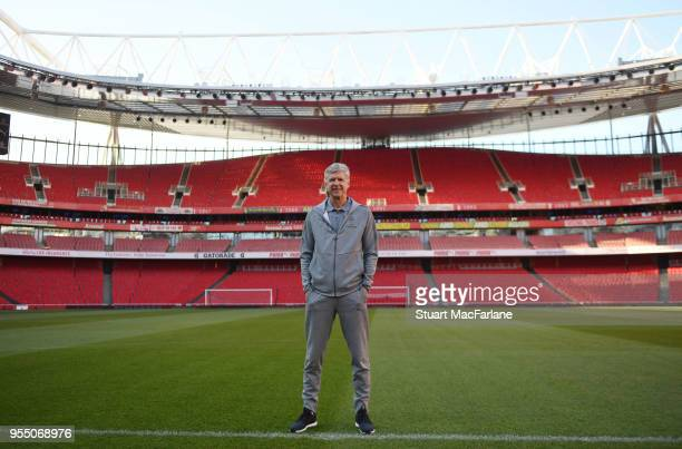 Arsene Wenger on the pitch at Emirates the night before his last match as Arsenal manager at the stadium Emirates Stadium May 5 2018 in London England