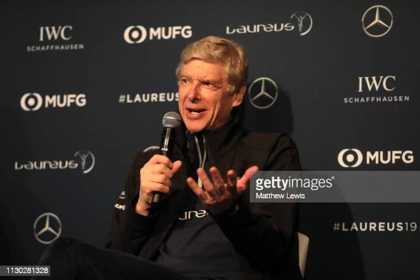 Arsene Wenger speaks during the Laureus Sport For Good Award Presentation on February 17 2019 in Monaco Monaco