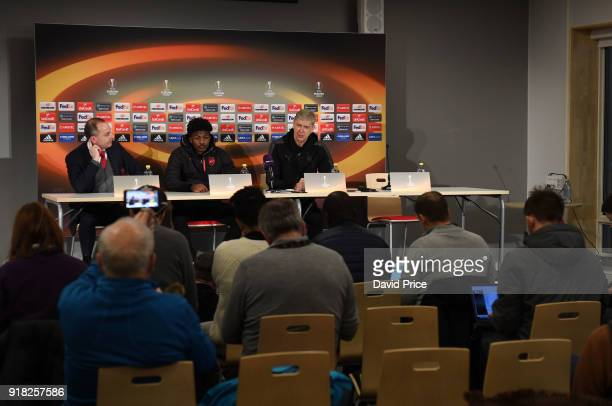 Arsene Wenger the Arsenal Manager and Ainsley MaitlandNiles of Arsenal during the Arsenal Press Conference at Jamtkraft Arena on February 14 2018 in...