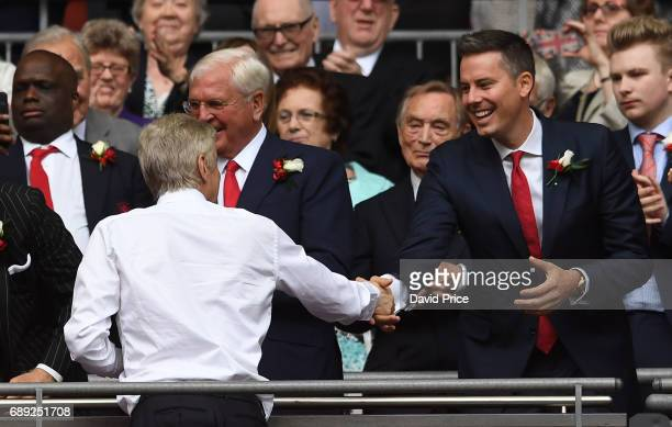 Arsene Wenger the Arsenal Manager and Arsenal Director Josh Kroenke after the match between Arsenal and Chelsea at Wembley Stadium on May 27 2017 in...