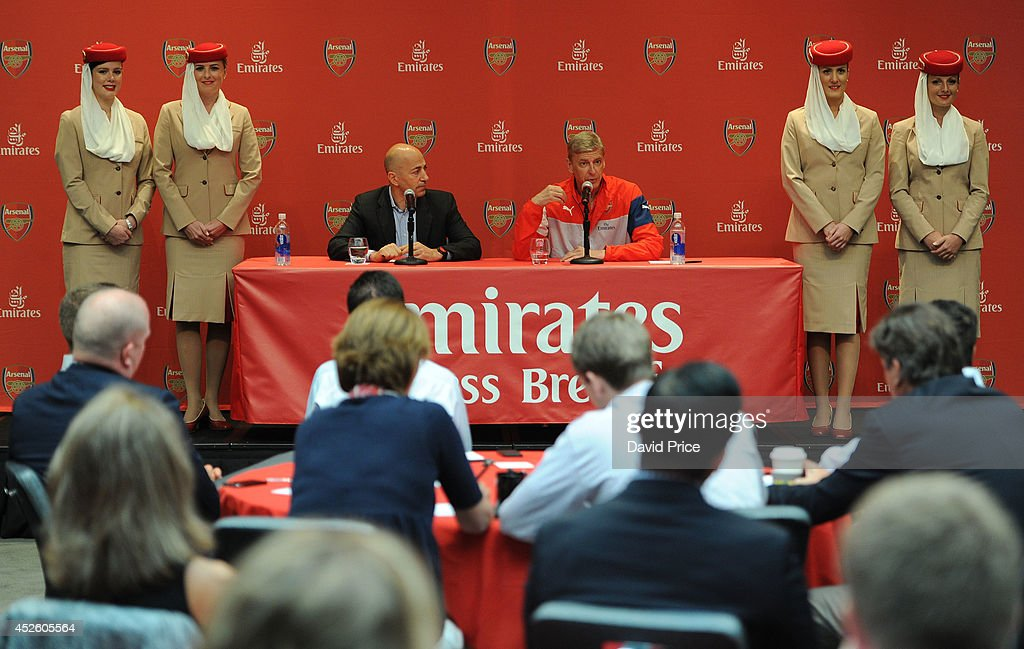 Arsene Wenger the Arsenal Manager and Ivan Gazidis the Arsenal CEO talk at the Emirates Business Breakfast in the Ballroom in the W Hotel at on July 24, 2014 in Hoboken, New Jersey.