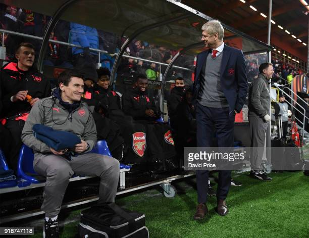 Arsene Wenger the Arsenal Manager before UEFA Europa League Round of 32 match between Ostersunds FK and Arsenal at the Jamtkraft Arena on February 15...