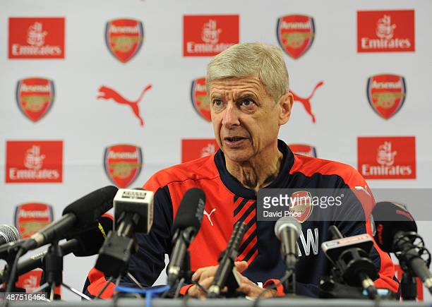 Arsene Wenger the Arsenal Manager during his press conference at London Colney on September 10, 2015 in St Albans, England.