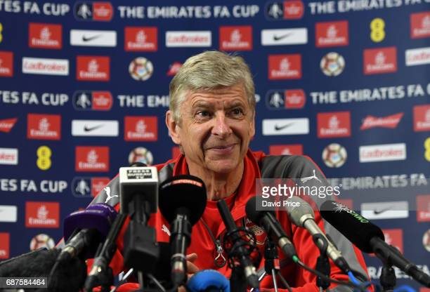 Arsene Wenger the Arsenal Manager during his press conference at London Colney on May 24, 2017 in St Albans, England.