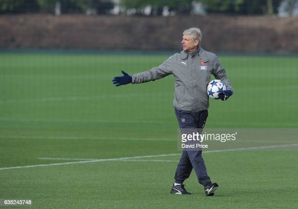 Arsene Wenger the Arsenal Manager during the Arsenal Training Session at London Colney on February 14, 2017 in St Albans, England.