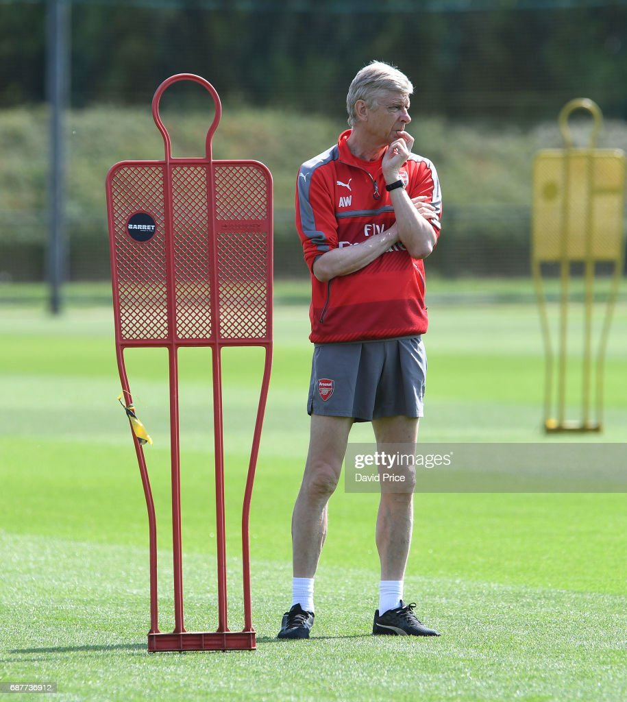 Arsene Wenger the Arsenal Manager during the Arsenal Training Session at London Colney on May 24, 2017 in St Albans, England.