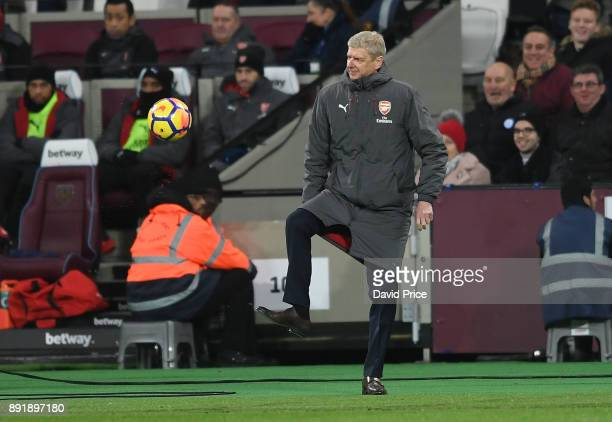 Arsene Wenger the Arsenal Manager during the Premier League match between West Ham United and Arsenal at London Stadium on December 13 2017 in London...