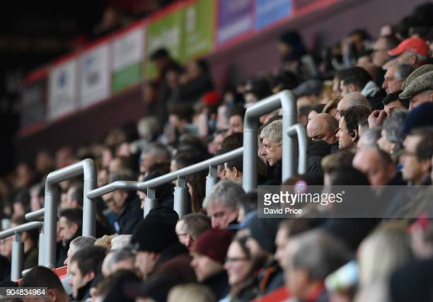 Arsene Wenger the Arsenal Manager during the Premier League match between AFC Bournemouth and Arsenal at Vitality Stadium on January 14 2018 in...