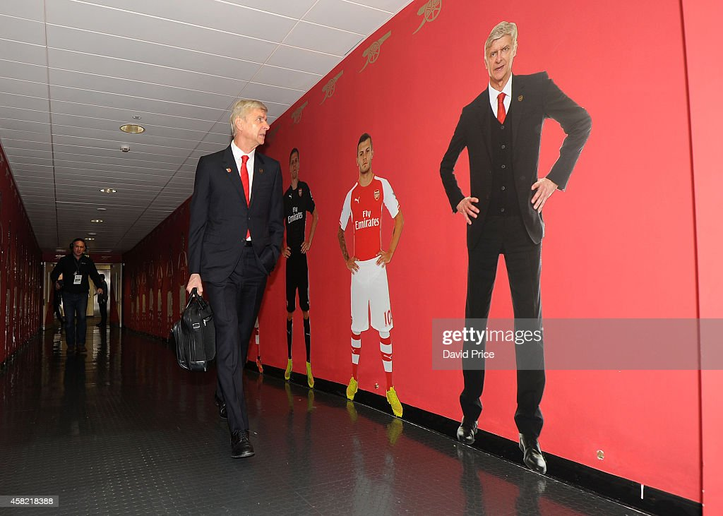 Arsene Wenger the Arsenal manager enters the stadium before the match between Arsenal and Burnley in the Barclays Premier League at Emirates Stadium on November 1, 2014 in London, England.