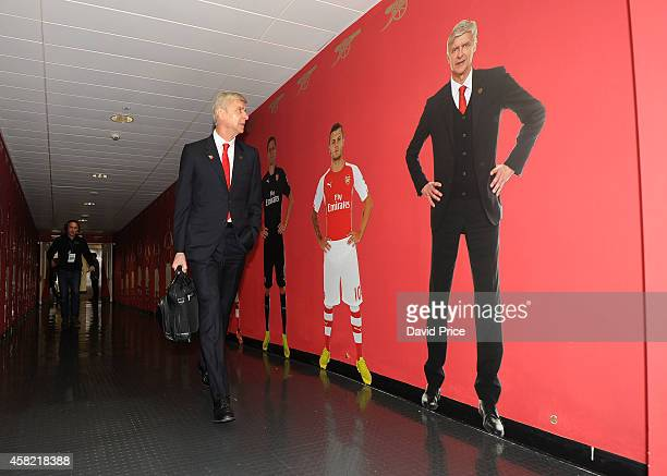 Arsene Wenger the Arsenal manager enters the stadium before the match between Arsenal and Burnley in the Barclays Premier League at Emirates Stadium...