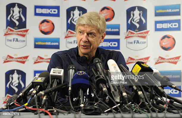 Arsene Wenger the Arsenal Manager in his pre FA Cup Final Press Conference at London Colney on May 14 2014 in St Albans England
