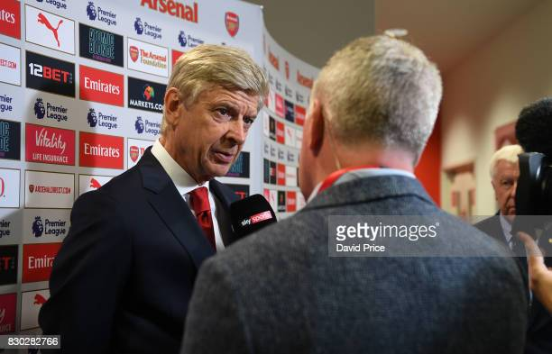 Arsene Wenger the Arsenal Manager is interviewed by Sky Sports before the Premier League match between Arsenal and Leicester City at Emirates Stadium...