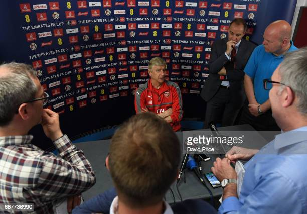 Arsene Wenger the Arsenal Manager is interviewed by the written press following press conference at London Colney on May 24 2017 in St Albans England