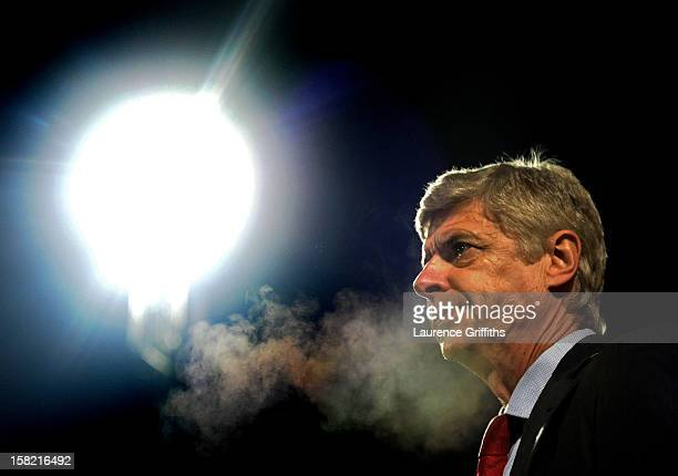 Arsene Wenger the Arsenal manager looks on during the Capital One Cup quarter final match between Bradford City and Arsenal at the Coral Windows...