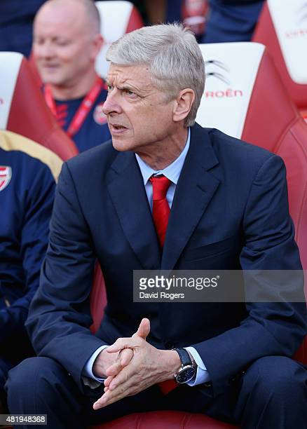 Arsene Wenger the Arsenal manager looks on during the Emirates Cup match between Arsenal and Olympique Lyonnais at the Emirates Stadium on July 25...