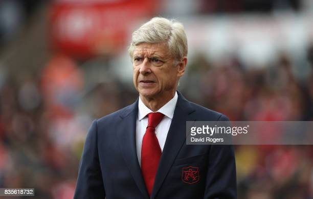 Arsene Wenger the Arsenal manager looks on during the Premier League match between Stoke City and Arsenal at Bet365 Stadium on August 19 2017 in...