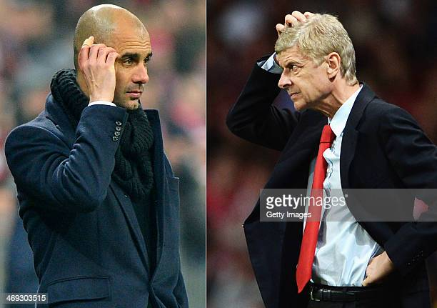 IMAGES Image Numbers 454921563 and 178222670 In this composite image a comparison has been made between Head coach Josep Guardiola of Bayern Munich...