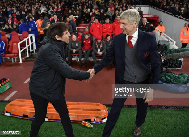 Arsene Wenger the Arsenal Manager shakes hands with Antonio Conte the Chelsea Manager before the match between Arsenal and Chelsea at Stamford Bridge...