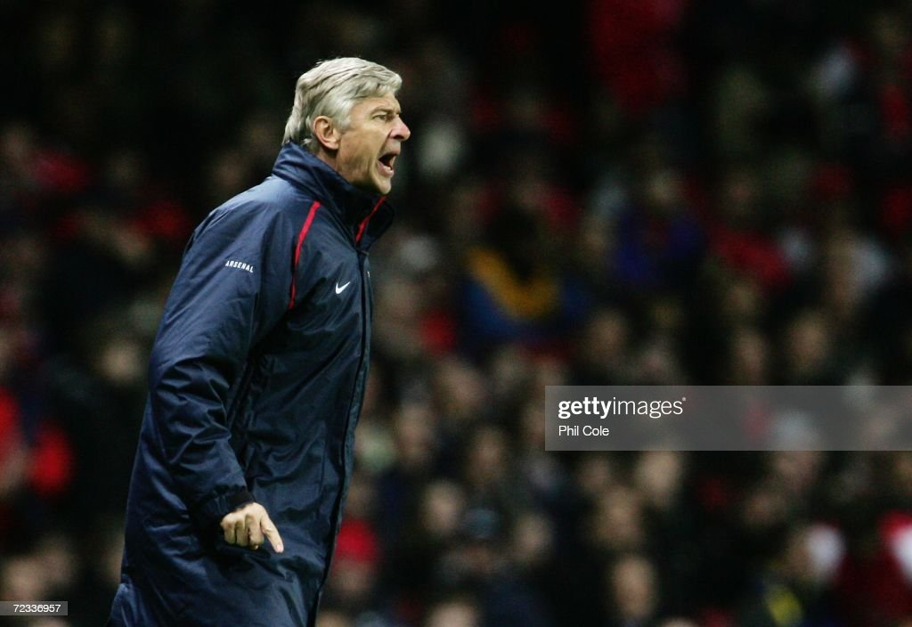 Arsene Wenger the Arsenal Manager shouts instructions from the touchline during the UEFA Champions League Group G match between Arsenal and CSKA Moscow at The Emirates Stadium on November 1, 2006 in London, England.
