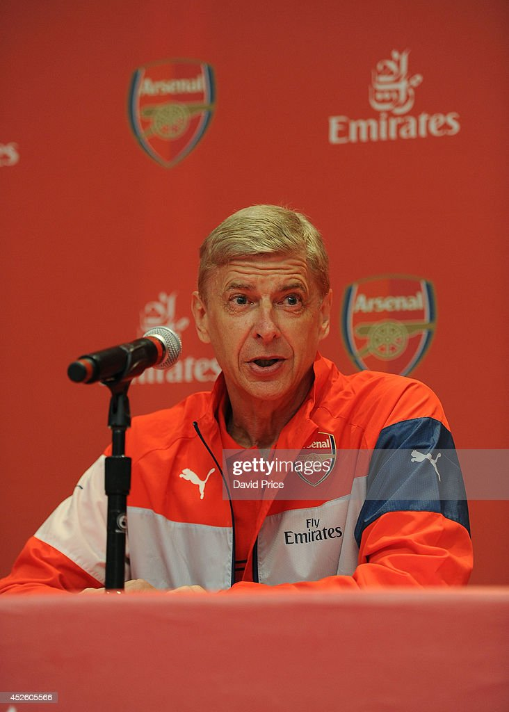 Arsene Wenger the Arsenal Manager talks at the Emirates Business Breakfast in the Ballroom in the W Hotel at on July 24, 2014 in Hoboken, New Jersey.