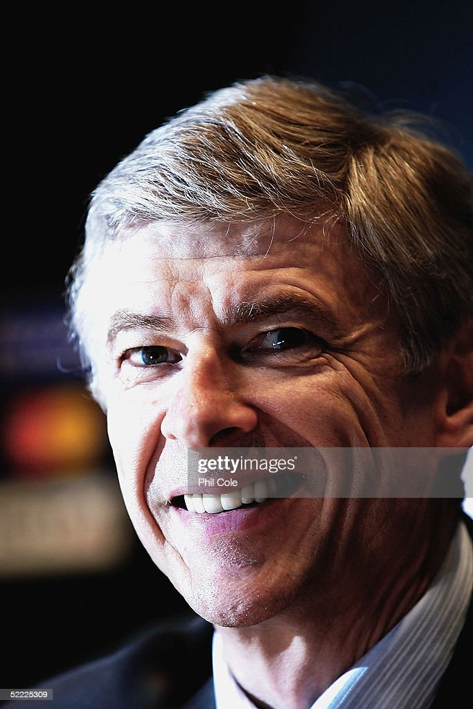 Arsene Wenger the Arsenal Manager talks to the Press on the Eve of the Champions League Match against Bayern Munich on February 21, 2005 in Munich, Germany.