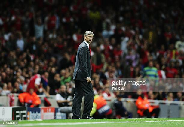 Arsene Wenger, the Arsenal manager, walks the touchline during the UEFA Champions League Group G match between Arsenal and FC Porto at The Emirates...